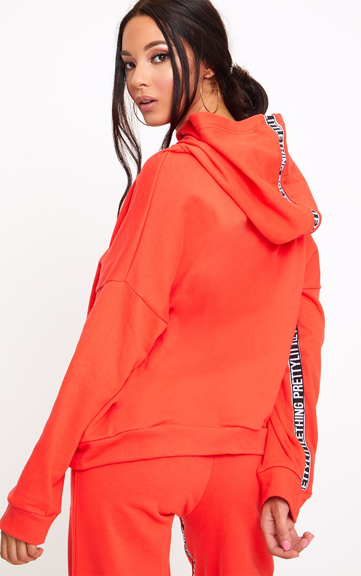PRETTYLITTLETHING Red Branded Oversized Hoodie 2
