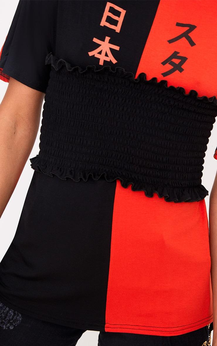 Black Spliced Print  Corset T Shirt  5