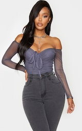 Shape Charcoal Mesh Long Sleeve Ruched Bodysuit 1