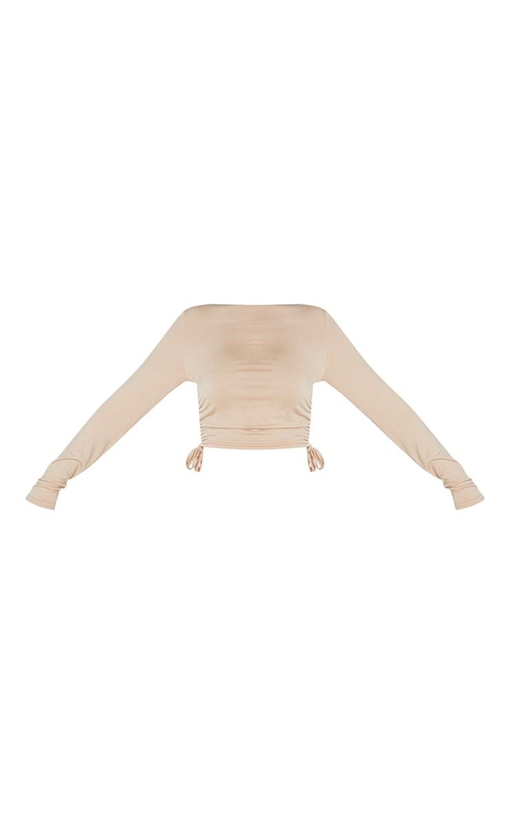 Toffee Jersey Ruched Side Long Sleeve Top 5