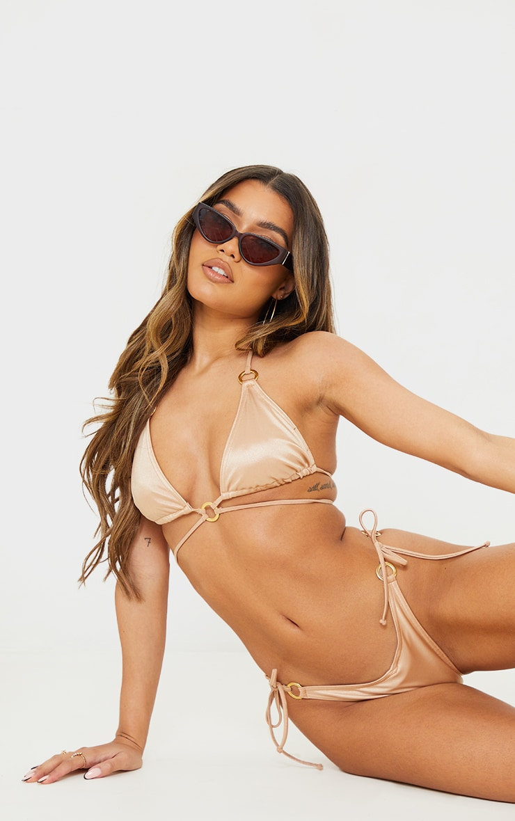 Rose Gold Metallic Wrap Around Bikini Top 1