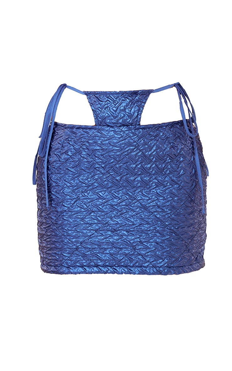 Blue Faux Leather Textured Thong Tie Detail Mini Skirt 6