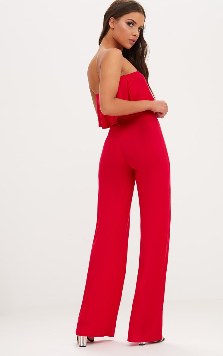 Red Jersey Bandeau Frill Jumpsuit 2