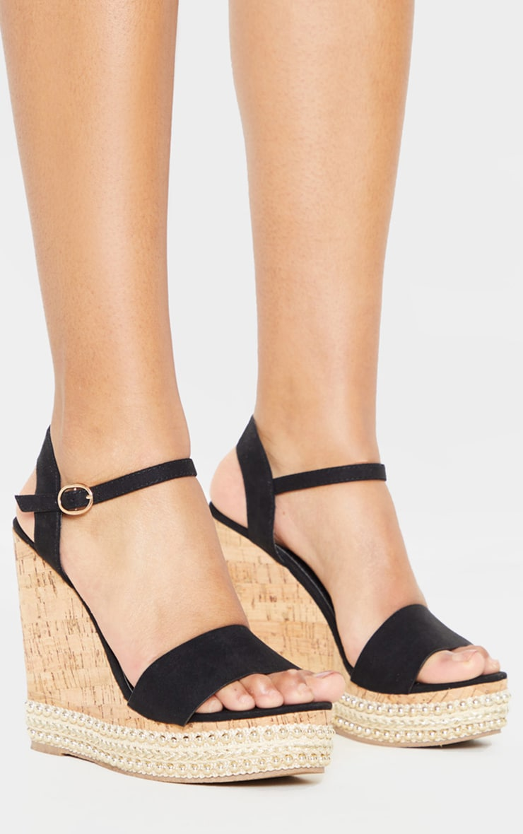 Black Studded Cork Wedge Sandal 3