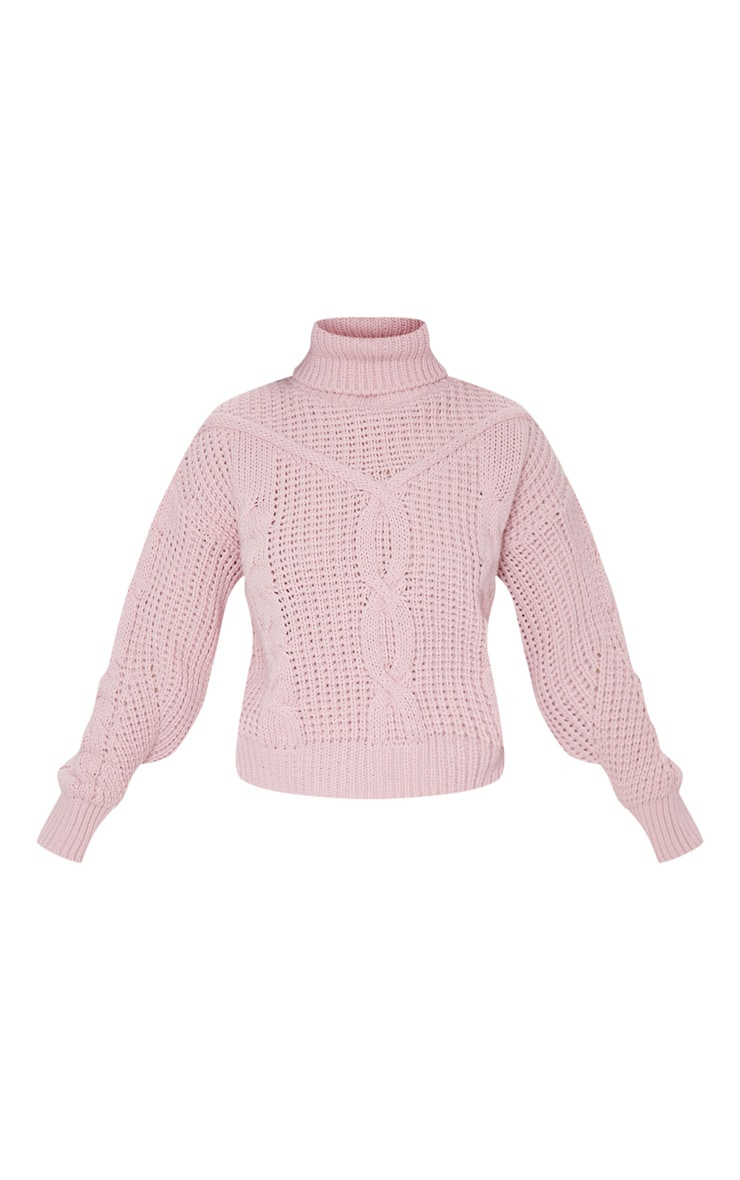 Petite Blush Roll Neck Knitted Long Sleeve Sweater 5