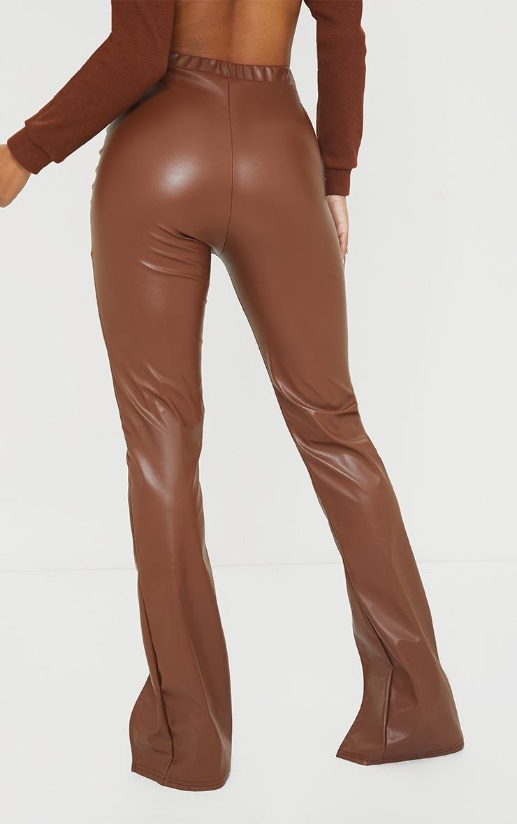 Camel Faux Leather Seam Detail Split Hem Pants 3