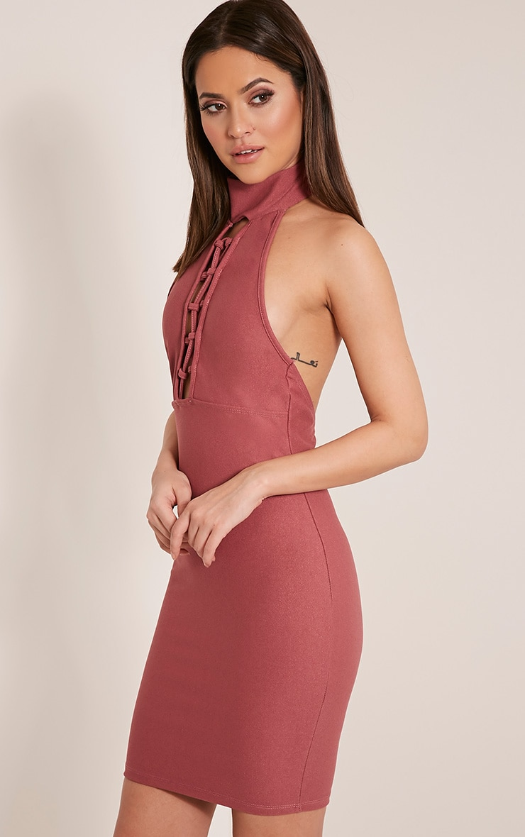 Jesseca Rose Neck Detail Lace Up Crepe Bodycon Dress 4