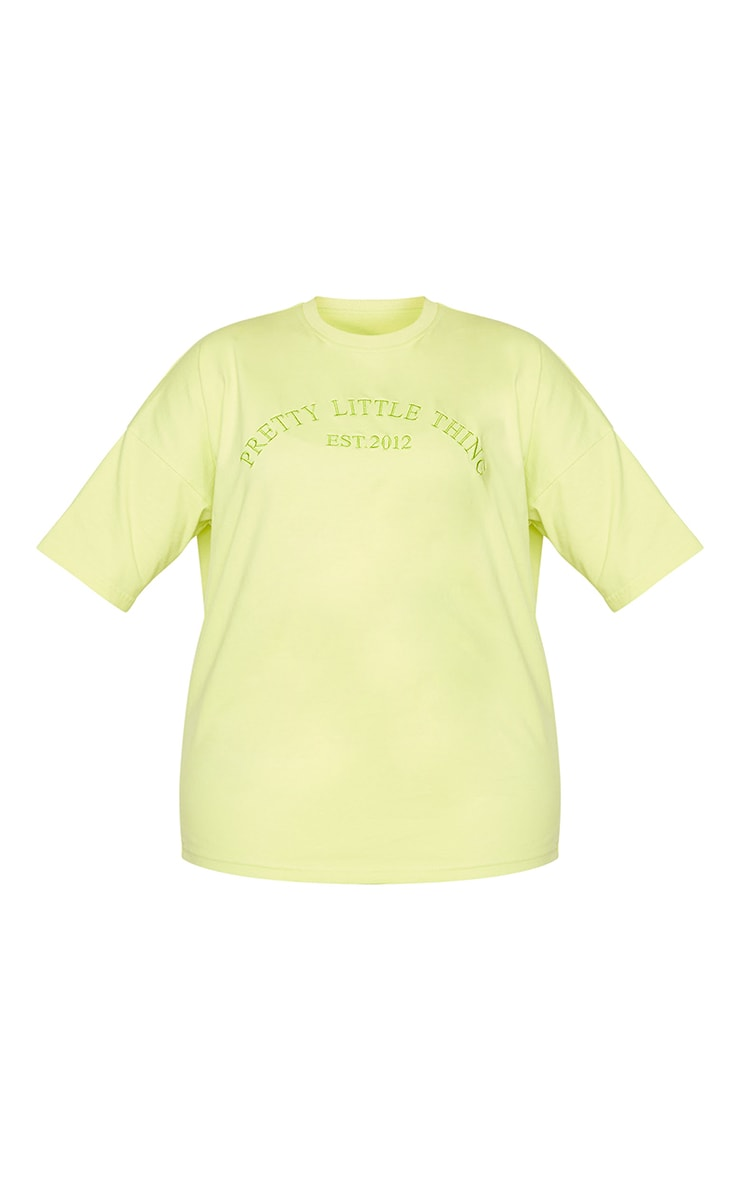 Plus Light Lime Embroidered Oversized Tshirt 5