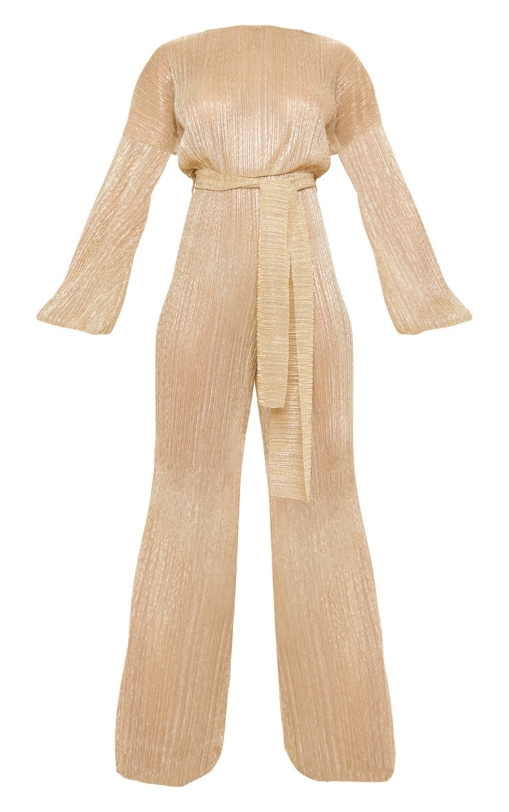 Tall Gold Metallic Sheer Pleated Tie Waist Jumpsuit 3