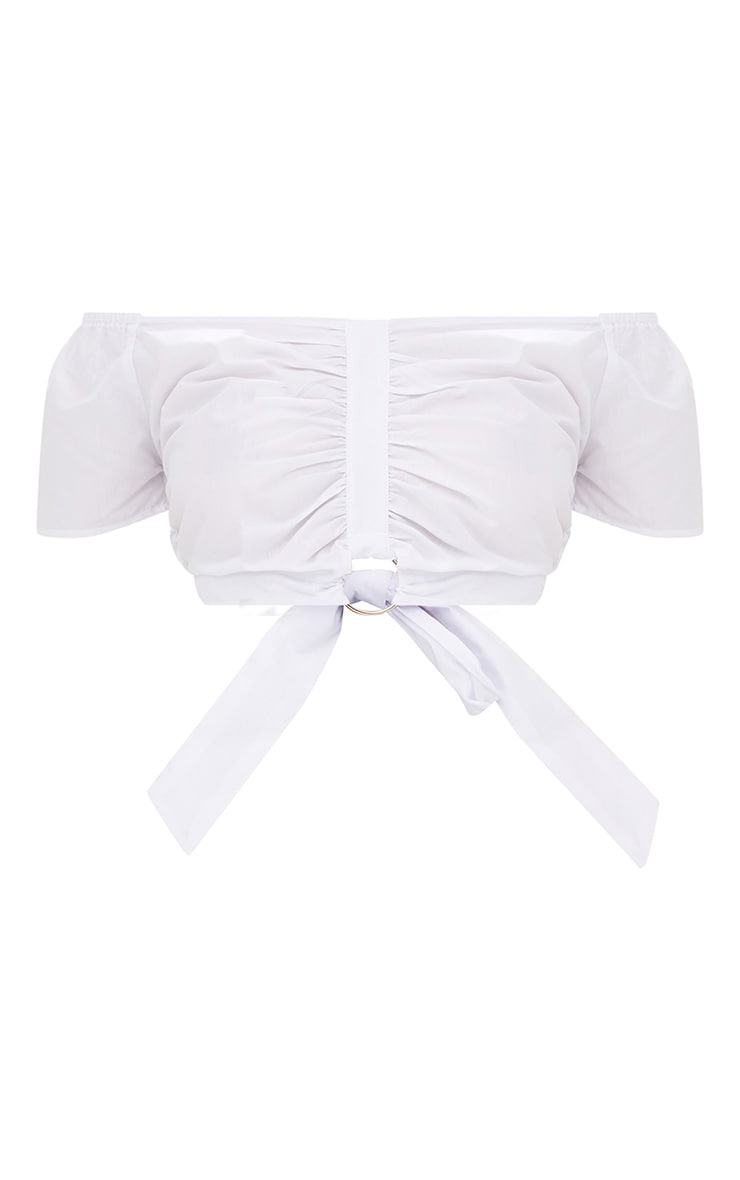 White Bardot Ruched O Ring Tie Crop Top 3