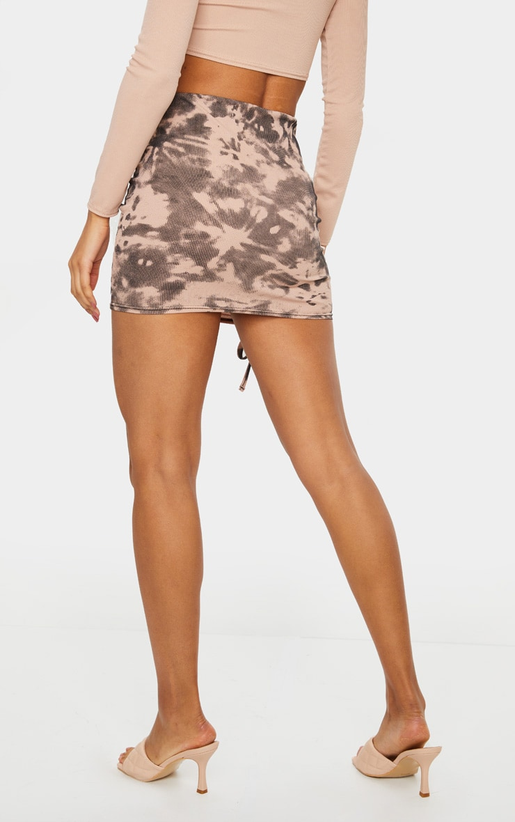 Nude Tie Dye Rib Ruched Detail Mini Skirt 3