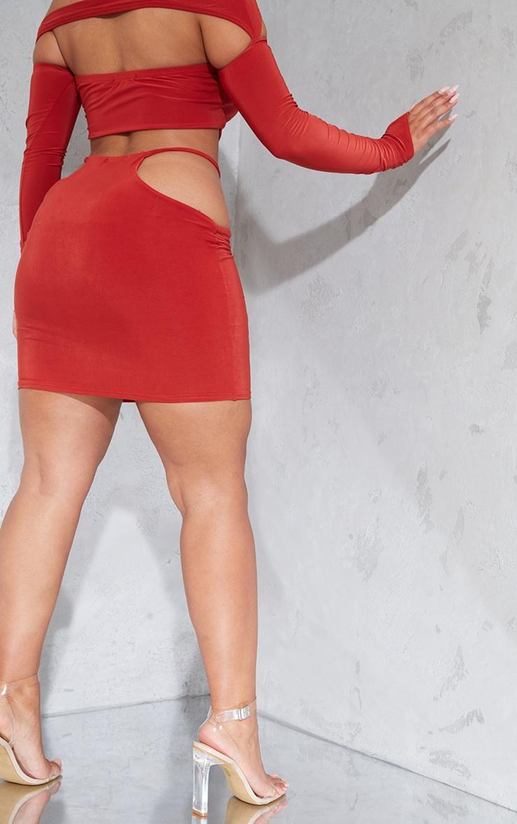 Shape Rust Slinky Cut Out Side Bodycon Skirt 3