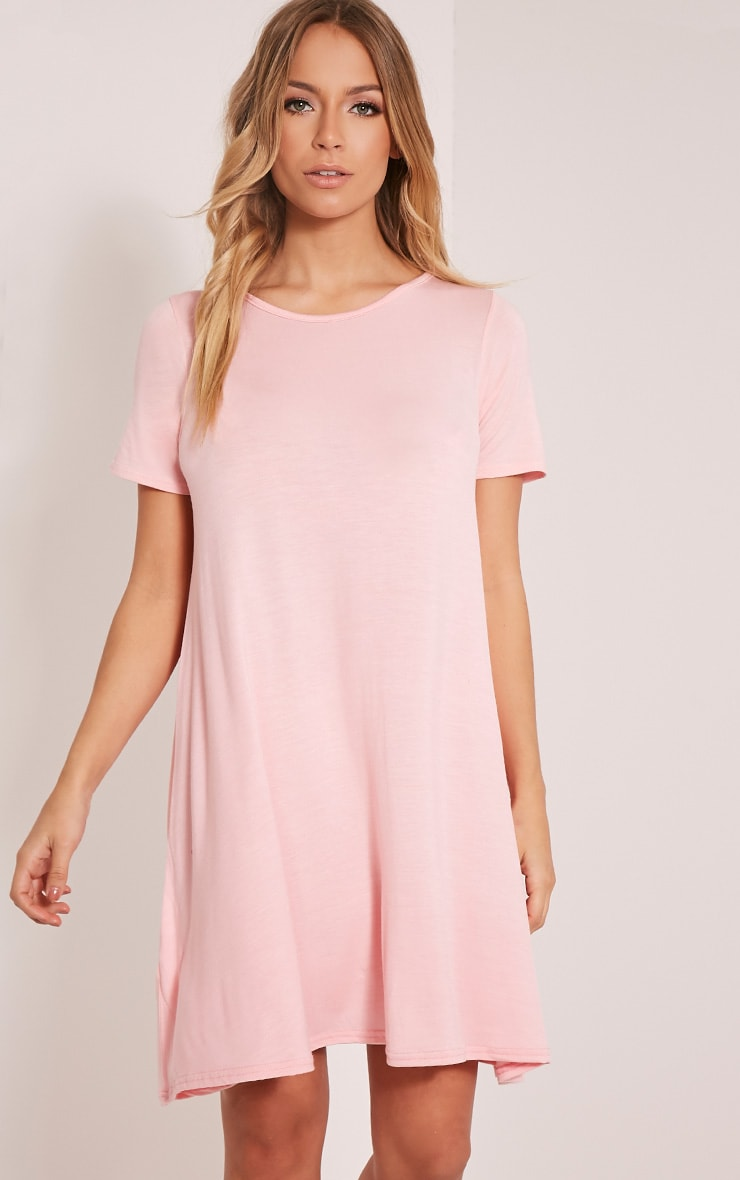 Basic Candy Pink Jersey Swing Dress 1