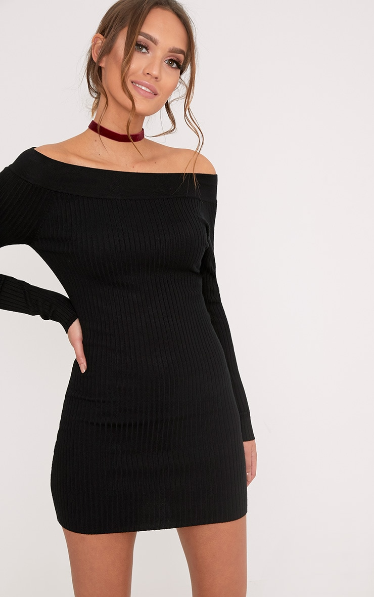 Lidia Black Fine Rib Bardot Knitted Dress 1