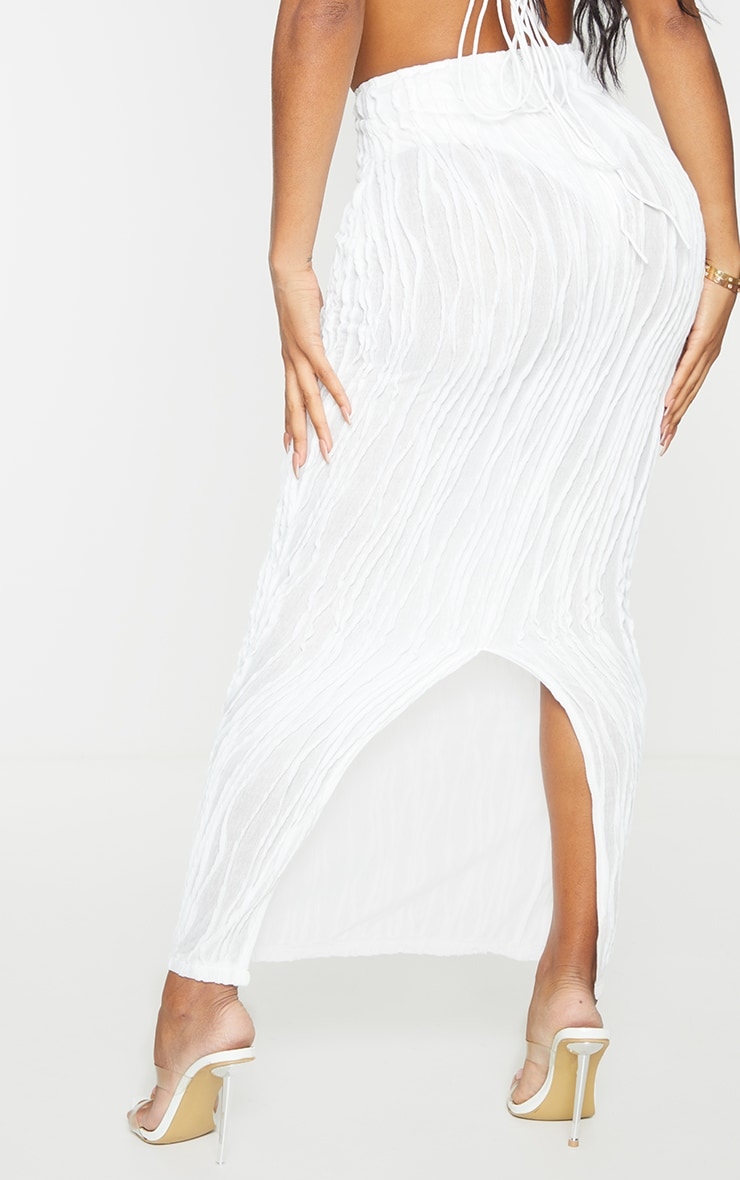 Shape White Textured Rib Midaxi Skirt 3
