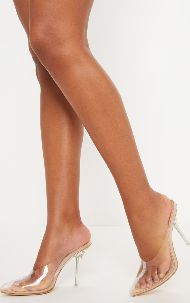 Nude Clear Mule Court Shoes  2
