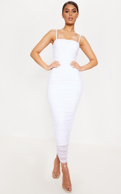 c98c98444462 White Strappy Mesh Ruched Midaxi Dress