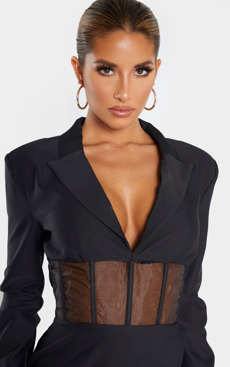 Black Mesh Insert Blazer Dress 5