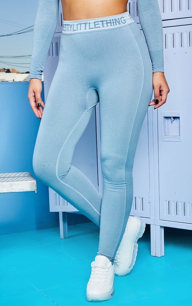 PRETTYLITTLETHING Ice Blue Seamless Gym Legging 2