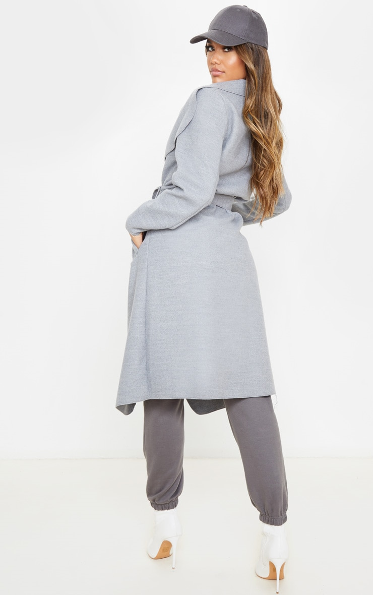 Veronica Silvery Grey Oversized Waterfall Belted Coat 2