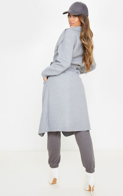 Veronica Silvery Grey Oversized Waterfall Belted Coat
