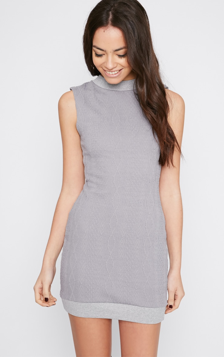 Darcie Grey Cable Knit Textured Sleeveless Dress 4