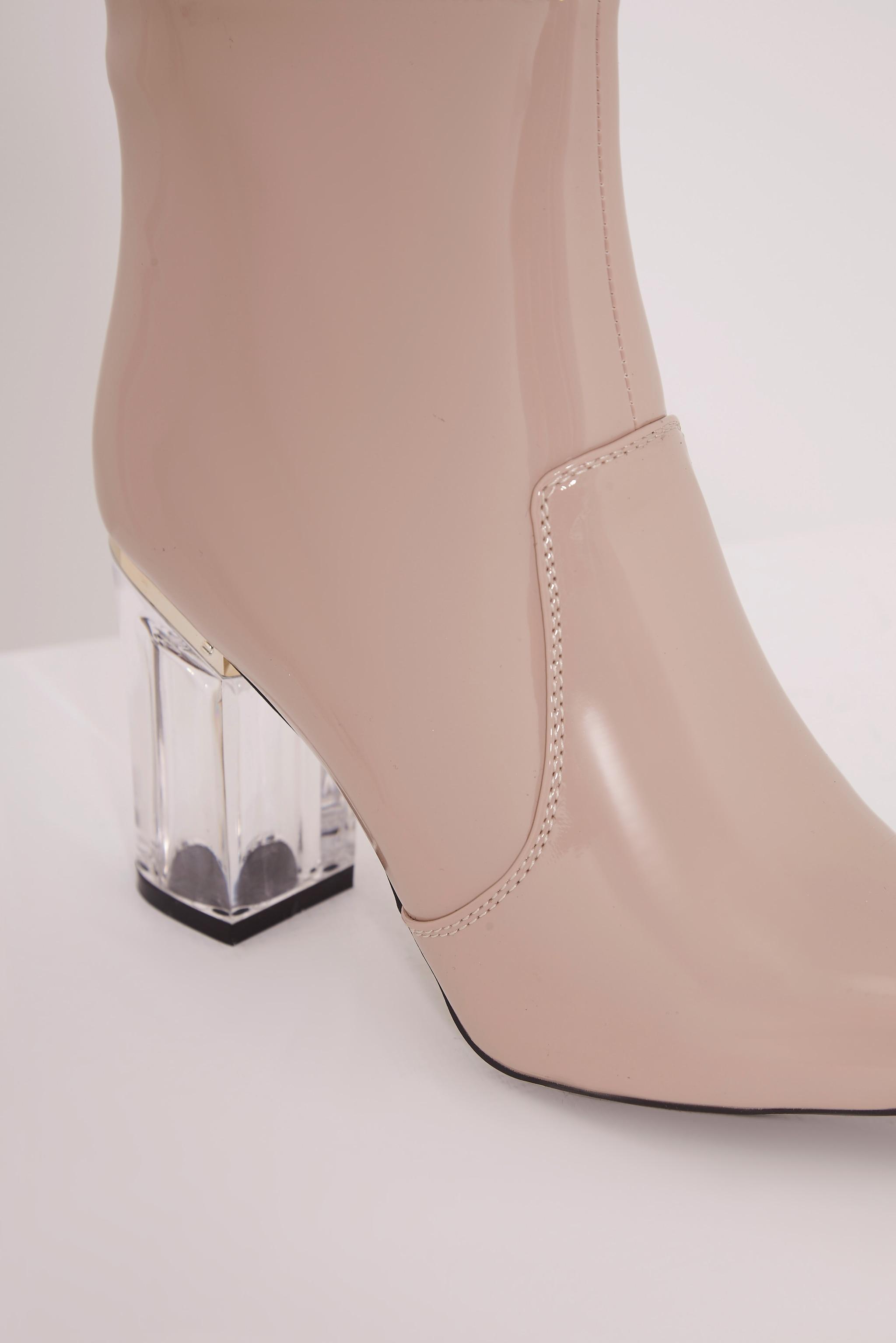 Kalia Nude Perspex Heel Ankle Boots 5