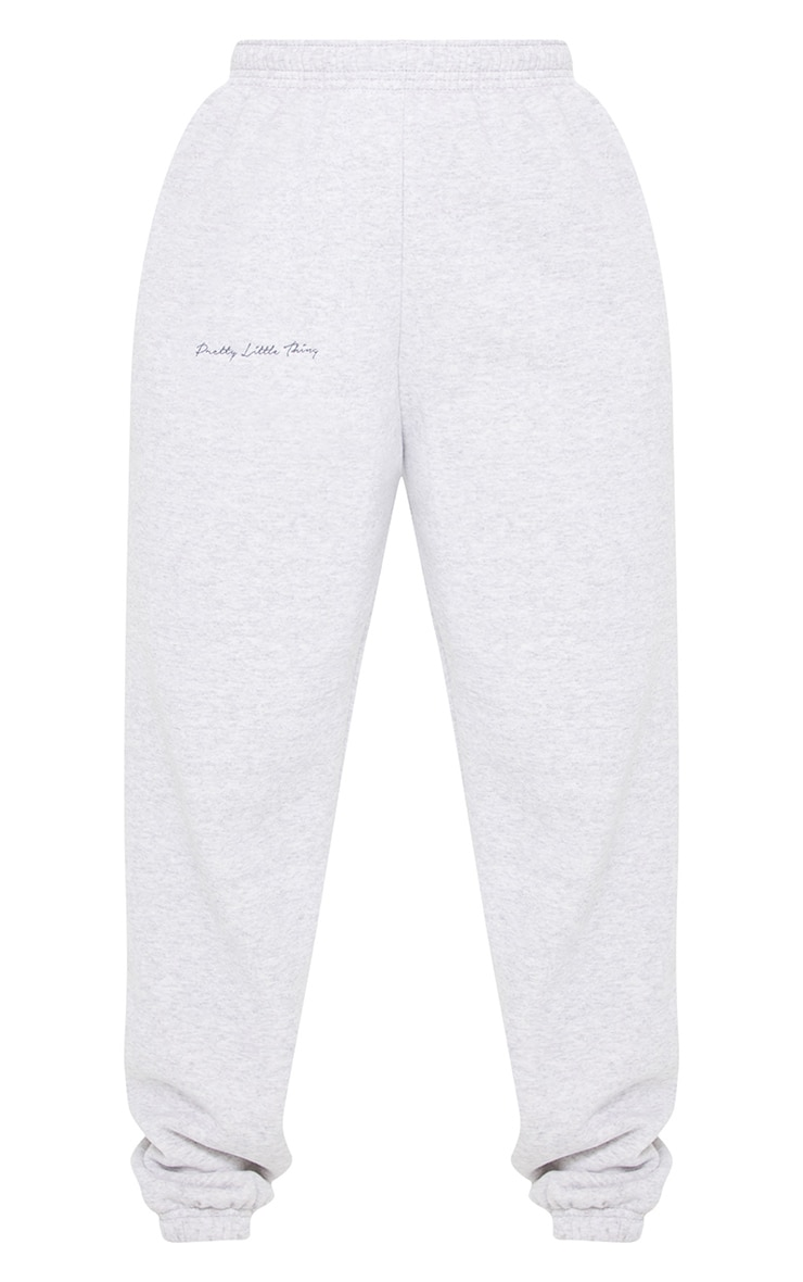 PRETTYLITTLETHING Grey Embroidered Jogger 5