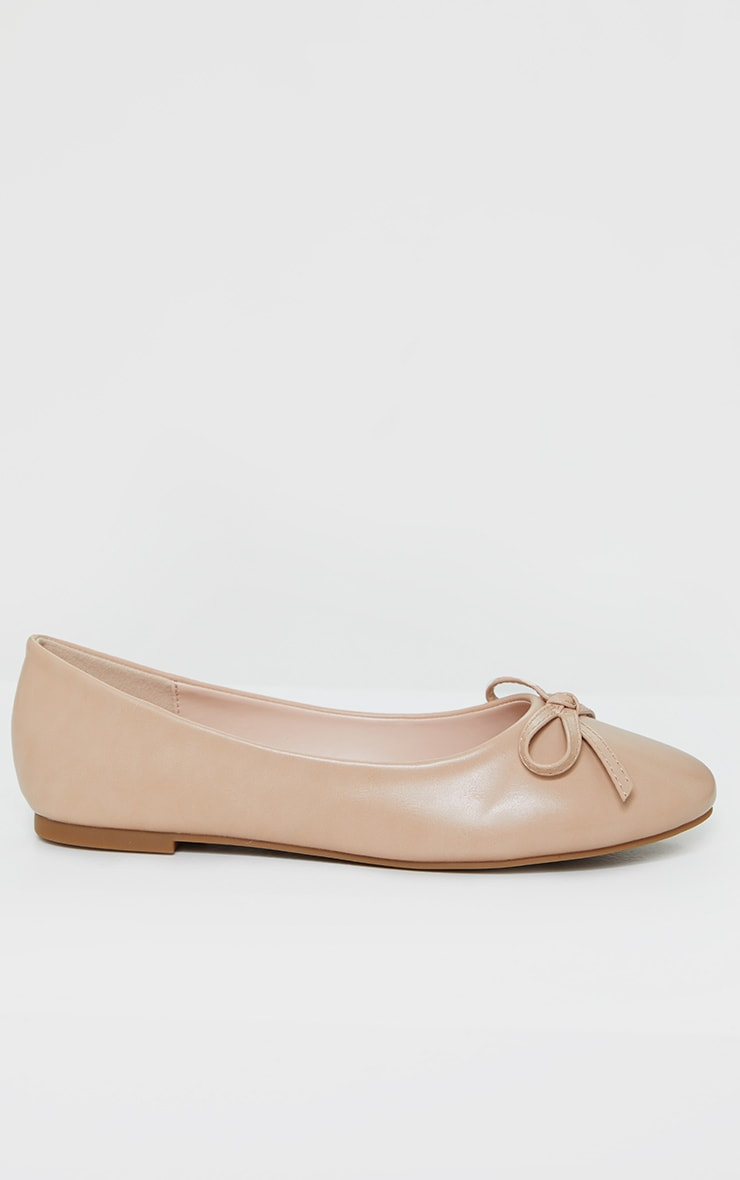 Nude Wide Fit PU Round Toe Ballet Shoes 4