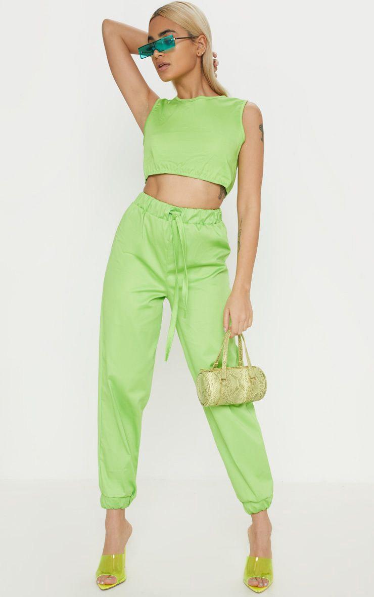 Petite Neon Lime Cargo Joggers 1