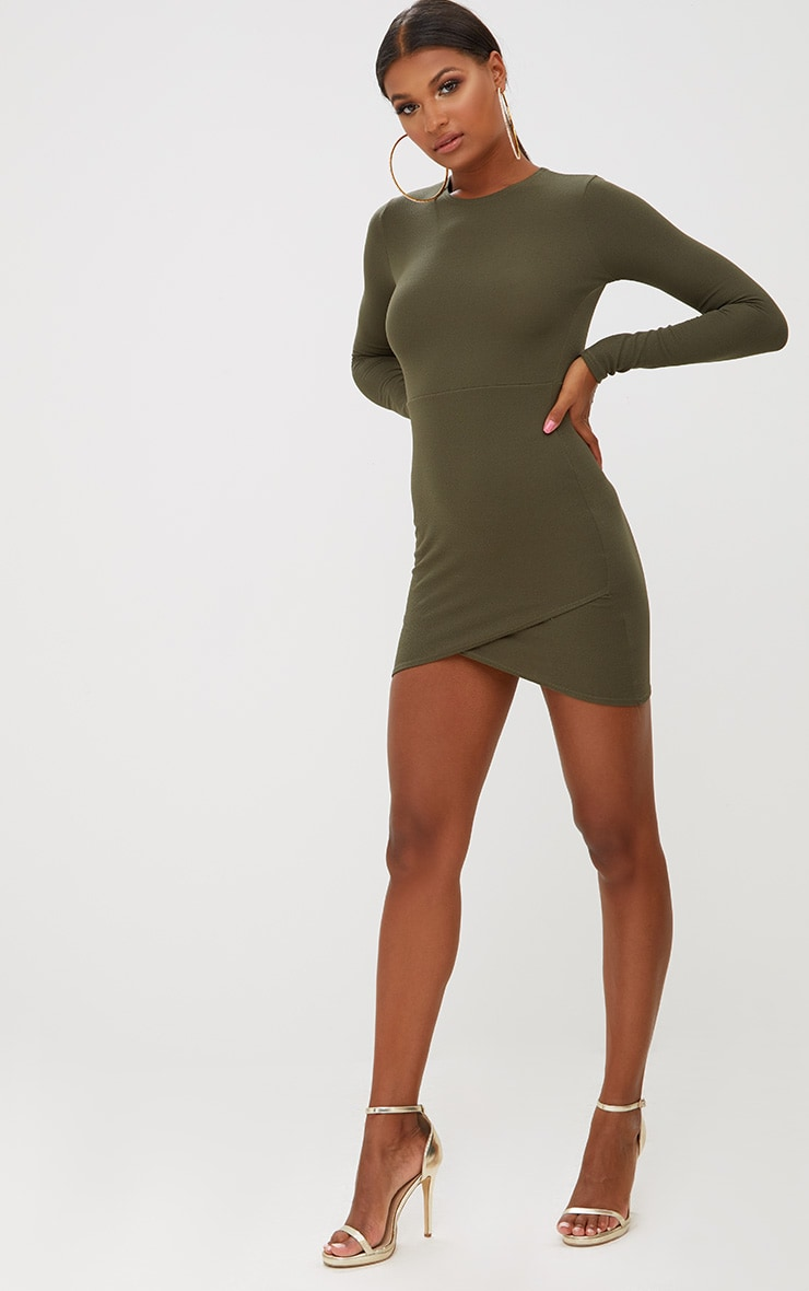 Khaki Long Sleeve Wrap Skirt Bodycon Dress 4