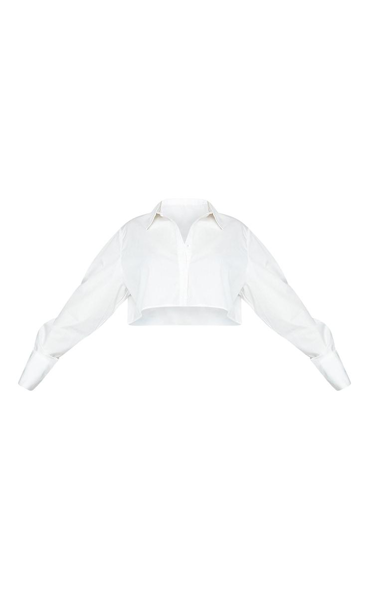 Plus White Cotton Oversized Crop Shirt 5