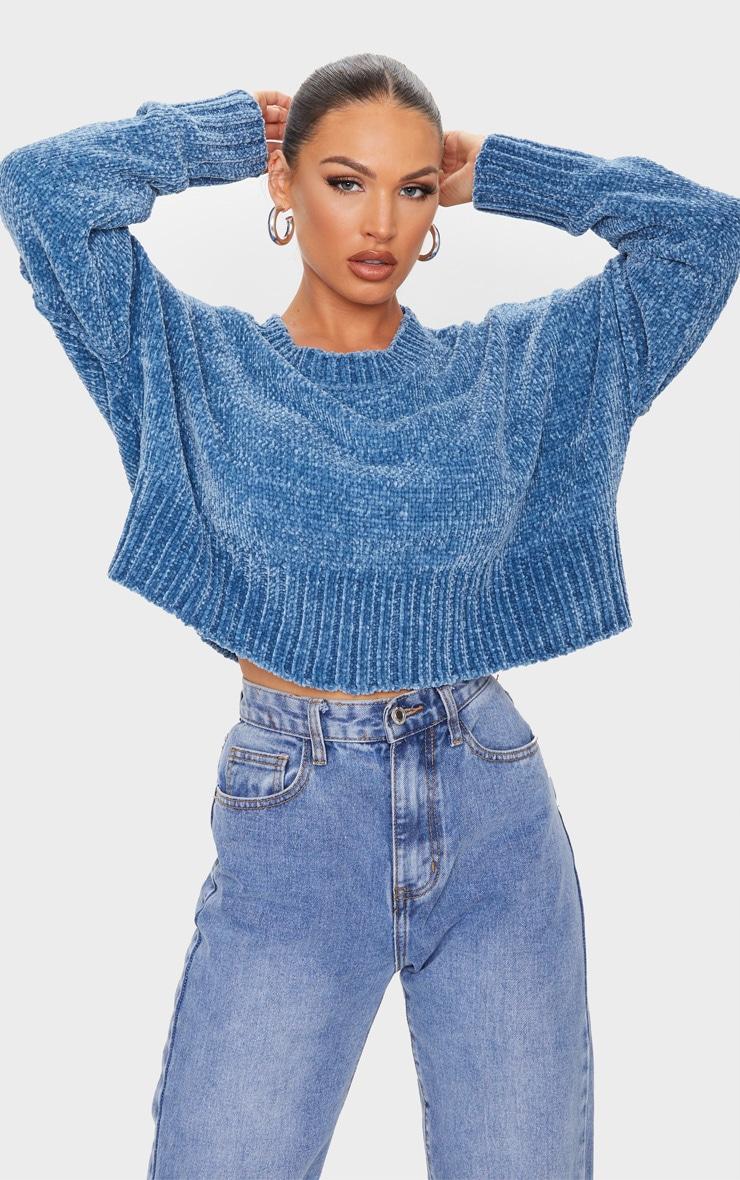 Blue Chenille Knitted Deep Hem Sweater 1