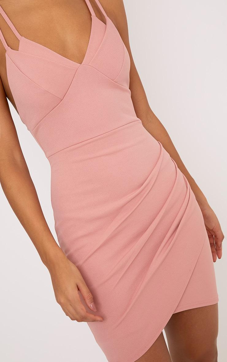 Pascala robe moulante rose à bretelles doubles 5
