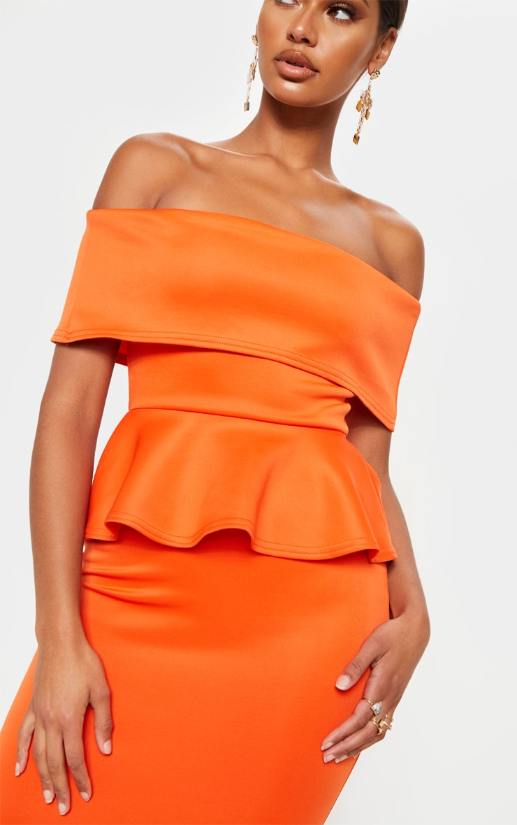 Bright Orange Bardot Peplum Detail Midi Dress 5