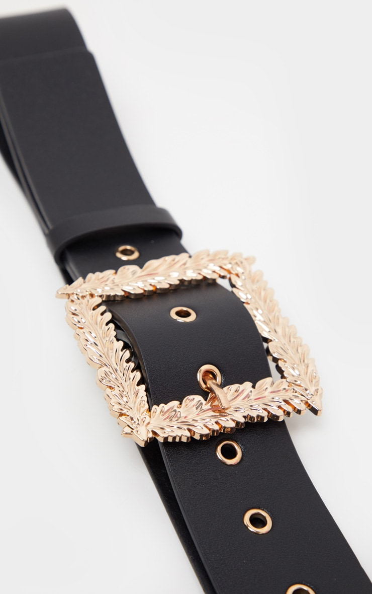 Black Wide Waist Belt With Gold Leaf Effect Buckle 3