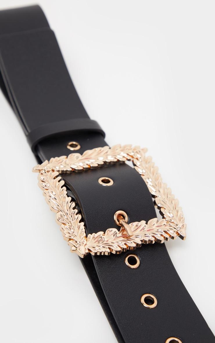 Black Wide Waist Belt With Gold Leaf Effect Buckle 4