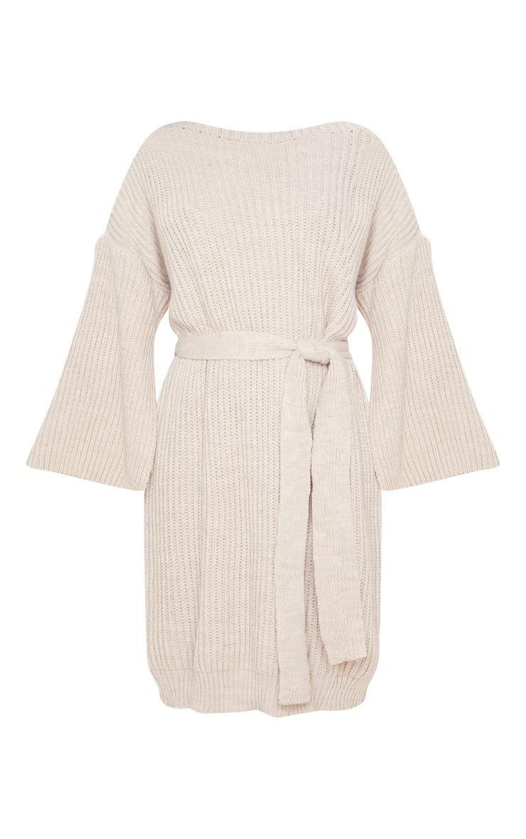 Stone Knitted Tie Waist Split Sleeve Sweater Dress 3
