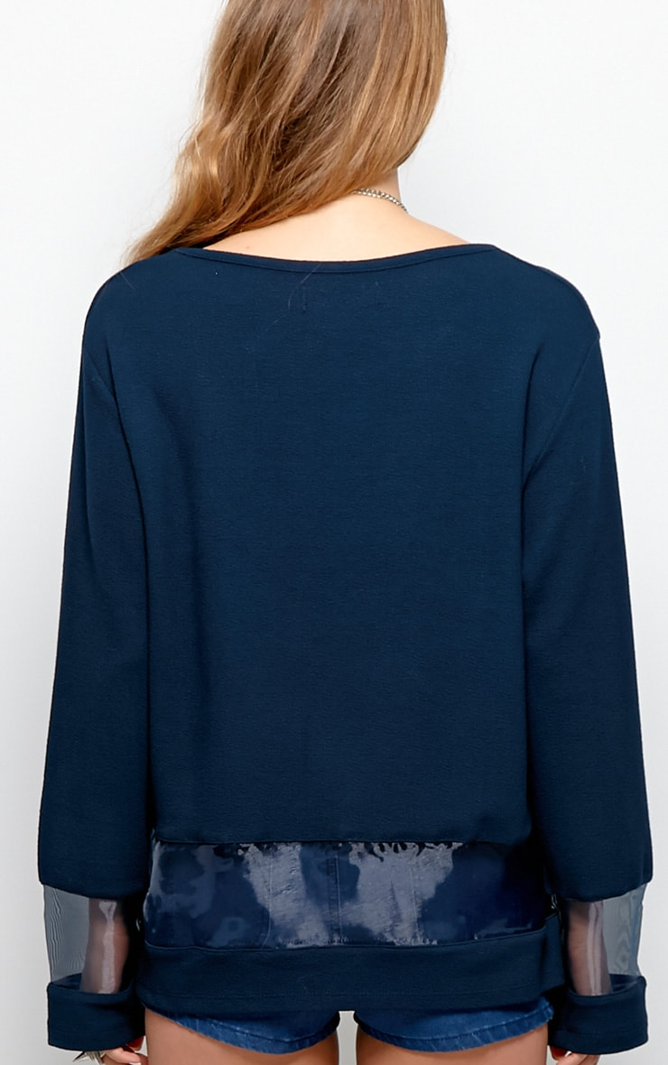 Elena Navy Sheer Panel Sweater 2
