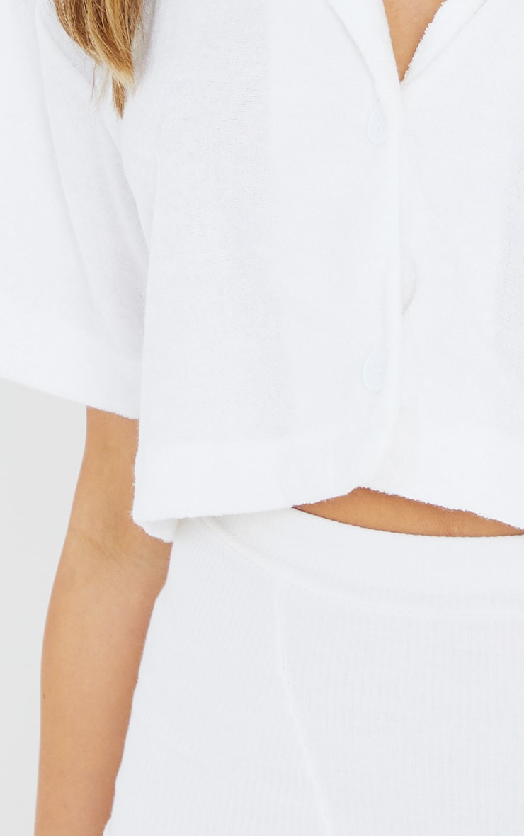 White Towelling Oversized Short Sleeve Crop Shirt 4
