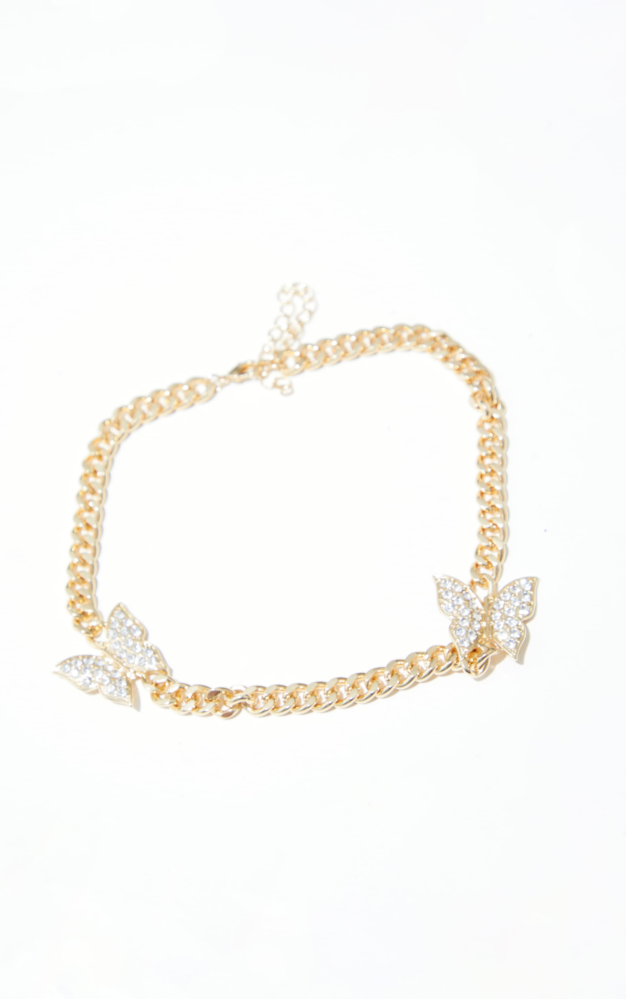 Gold Chunky Chain Double Diamante Butterfly Necklace 3