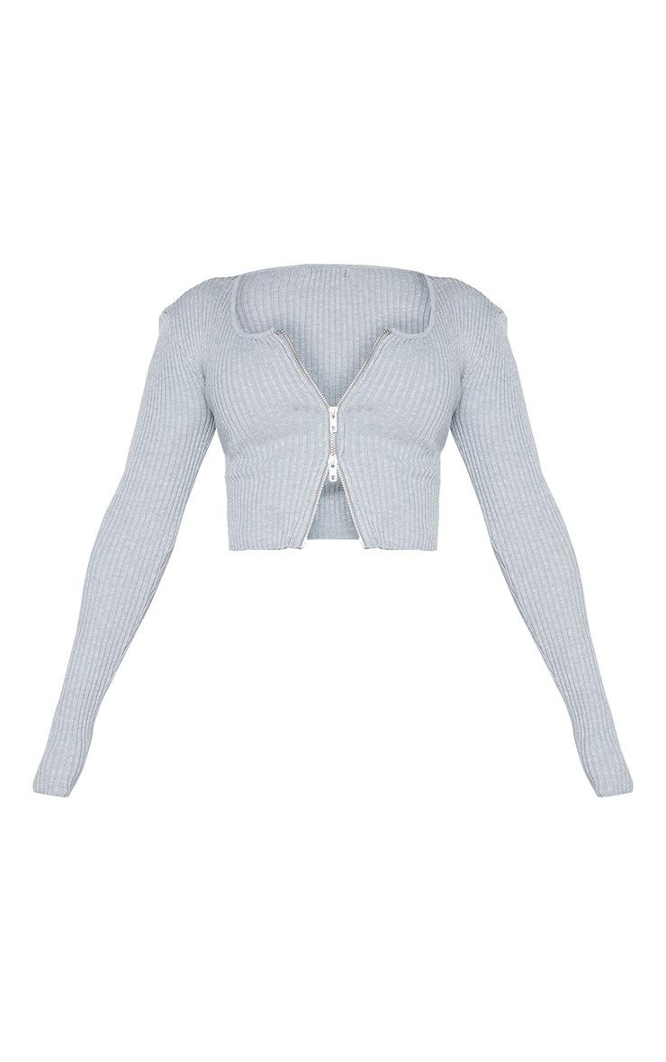 Shape Grey Soft Knit Rib Zip Front Crop Top 5