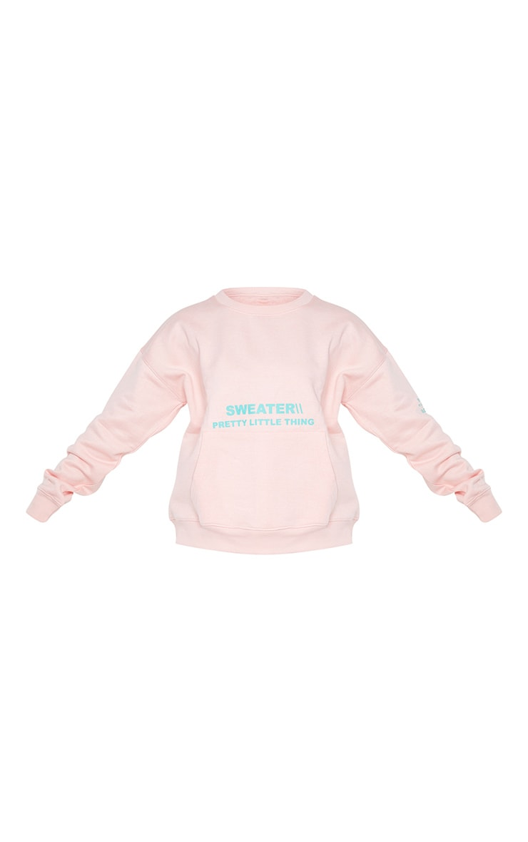 PRETTYLITTLETHING Light Pink Oversized Graphic Print Pocket Front Sweater 5