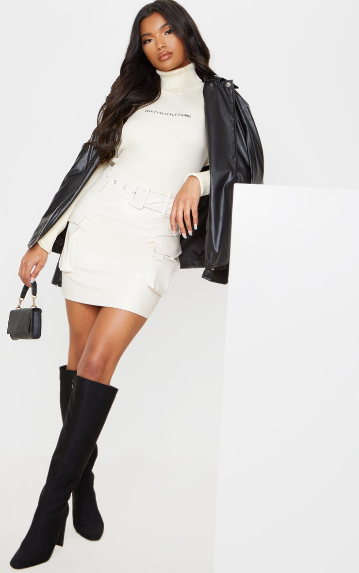 Cream Faux Leather Belted Cargo Pocket Mini Skirt 1