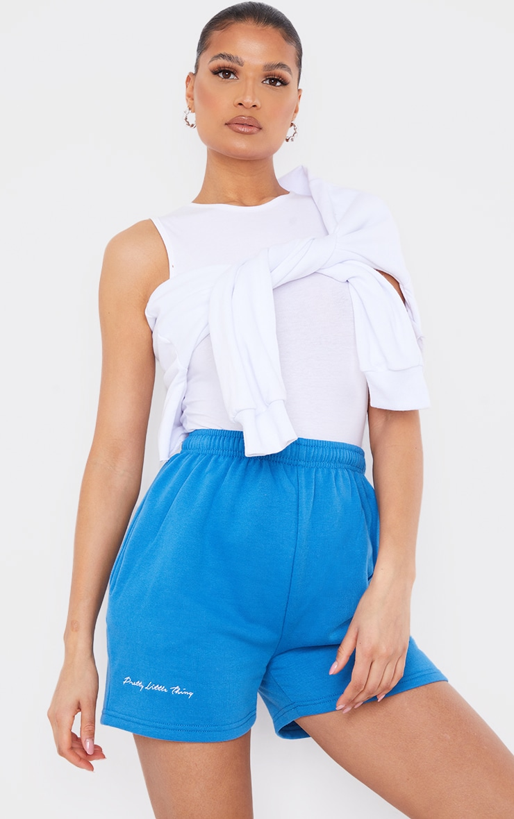 PRETTYLITTLETHING - Short en sweat bleu cobalt à slogan brodé 4