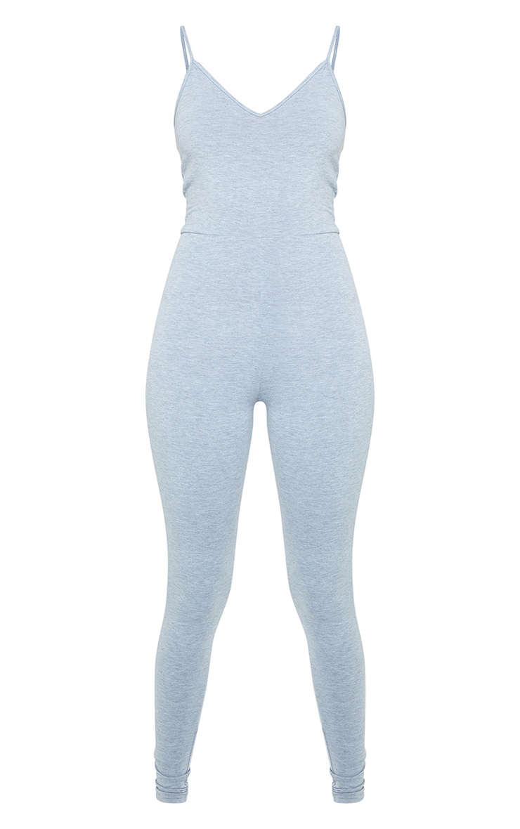 Tall Grey Marl Strappy Plunge Jumpsuit 5
