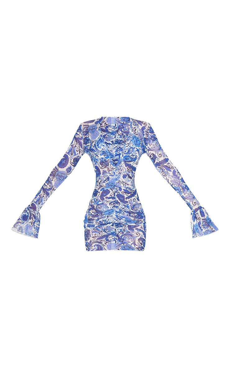 Blue Paisley Long Sleeved Ruched Front Mesh Beach Dress 5