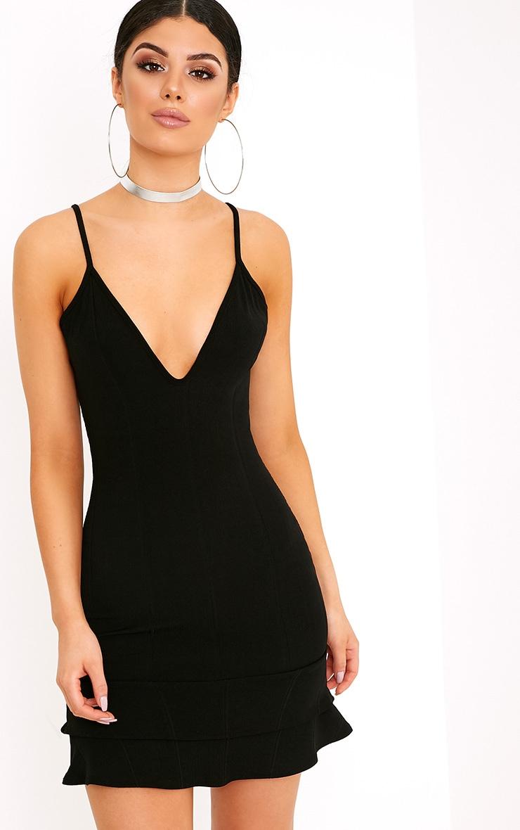 Carletta Black Bandage Frill Hem Bodycon Dress 1