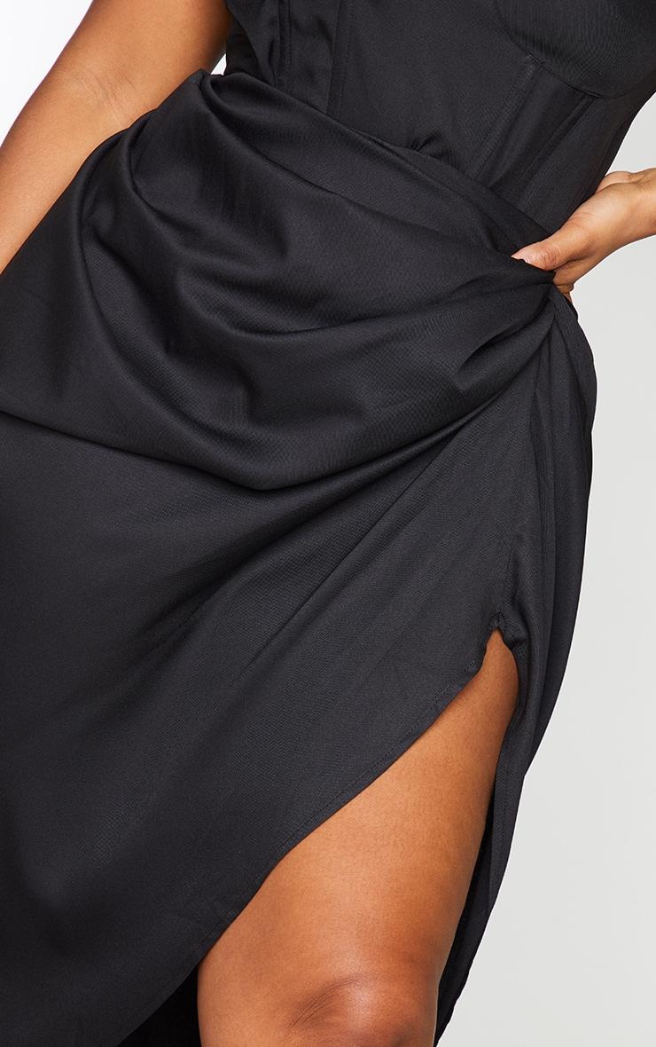 Plus Black Ruched Side Midi Skirt 4