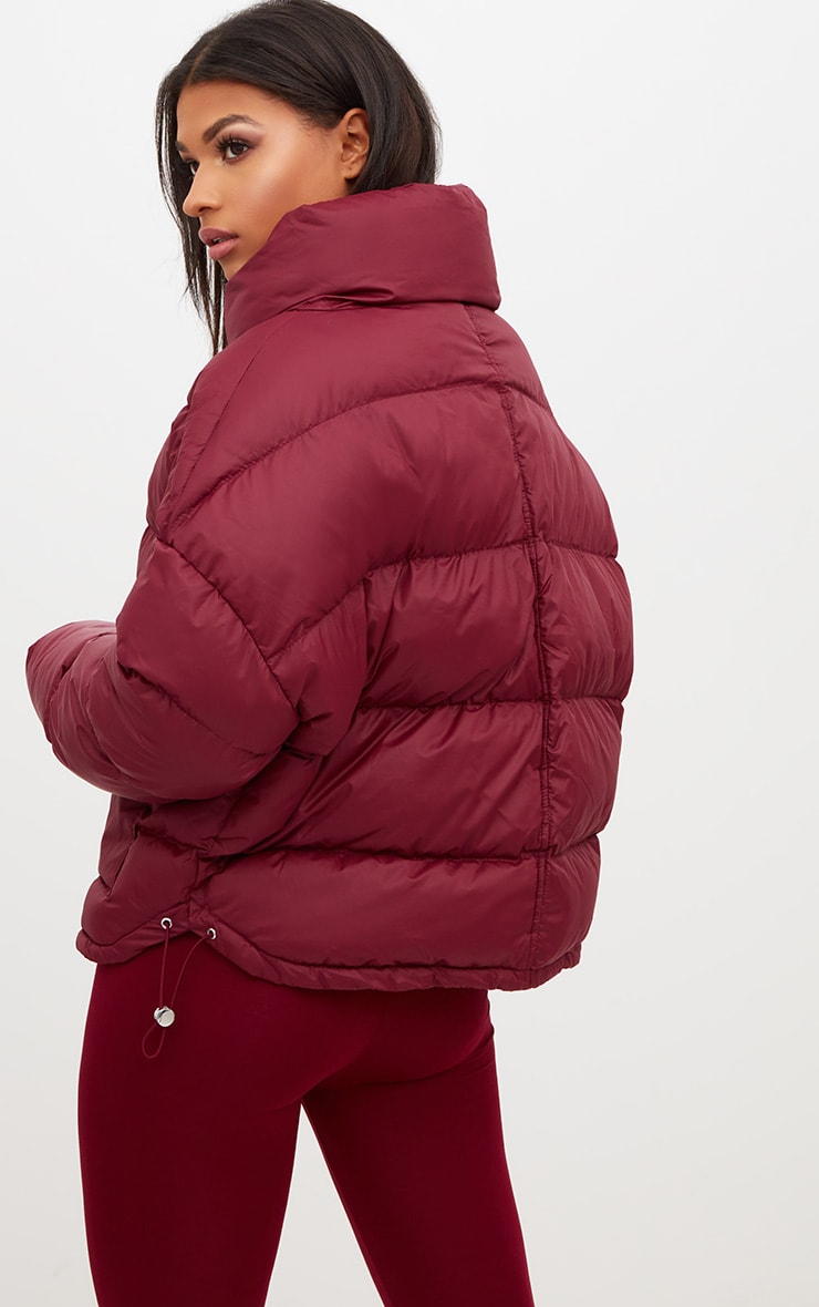 Burgundy Oversized Puffer Jacket with Button Pockets 2